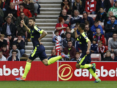 Arsenal's Olivier Giroud celebrates scoring their second goal against Sunderland. Reuters