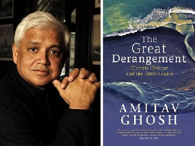 Amitav Ghosh (L); cover of The Great Derangement