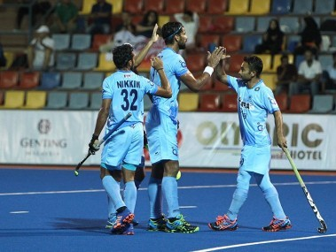 Indian hockey players celebrate their win over Japan. Image courtesy: Twitter/@TheHockeyIndia