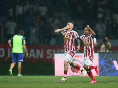 Iain Hume of Atletico de Kolkata celebrates his game winning penalty. ISL