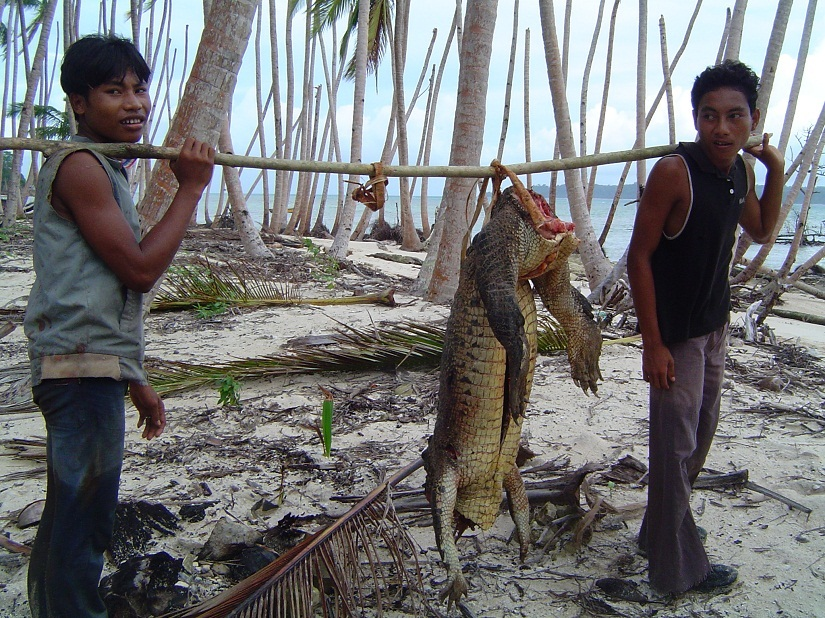 Hunters carrying a crocodile in Trinket Island in Central Nicobar. Image courtesy Vardhan Patankar