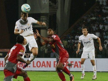Emiliano Alfaro of NorthEast United FC in action against Atletico de Kolkata. ISL
