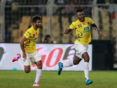 Kervens Belfort of Kerala Blasters FC celebrates a goal against FC Goa. ISL
