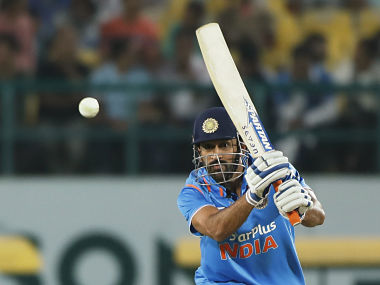 Indian cricket captain Mahendra Singh Dhoni bats during their first one-day international cricket match against New Zealand. AP
