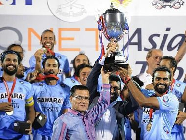 Indian hockey team captain PR Sreejesh with the trophy after defeating Pakistan 3-2 in the Asian Champions Trophy final. Image courtesy: Twitter/ @prasarbharati
