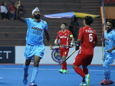 India's Talwinder Singh celebrates after scoring the team's first goal of the match. Image courtesy: Hockey India Facebook page.