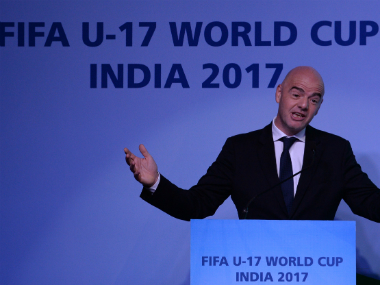 File image of Gianni Infantino at the unveiling of FIFA U-17 World Cup logo. AFP