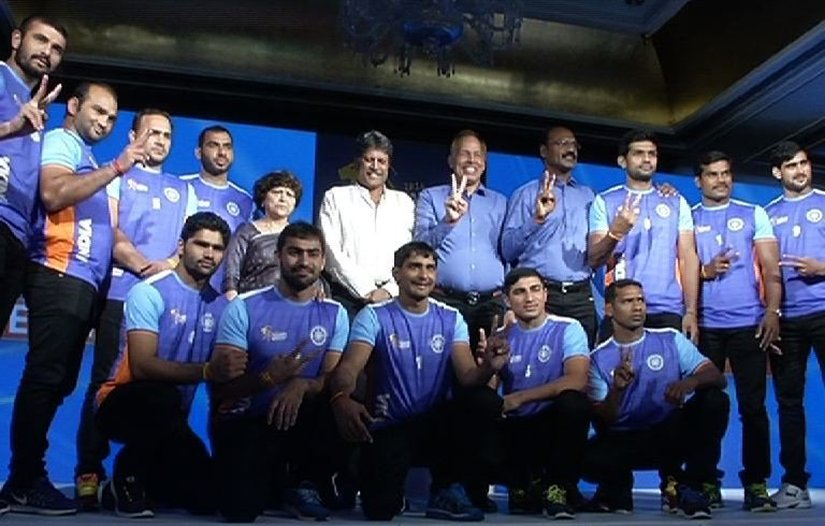 The Indian kabaddi team for the 2016 world Cup. Image courtesy: twitter/@ABPTV