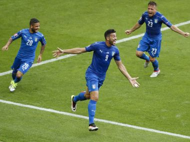 Italy's Graziano Pelle celebrates after scoring a goa against Spain in Euro 2016.. Reuters