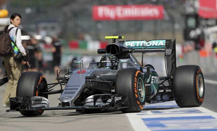 Mercedes driver Nico Rosberg during the first practice session for the Japanese GP. AP