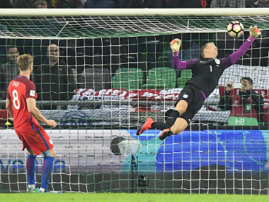 Joe Hart's incredible display saved England's blushes. AFP