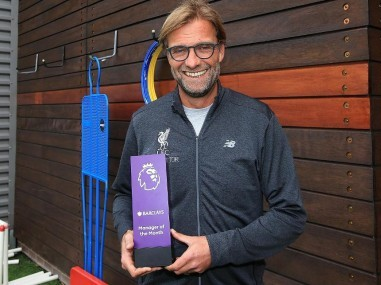 Jurgen Klopp has been named as the Premier League Manager of the Month for September. Image courtesy: Twitter/@premierleague