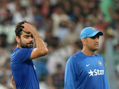 File photo of India's ODI captain Mahendra SIngh Dhoni and Virat Kohli. AFP