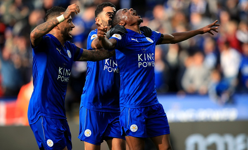 Leicester City's Ahmed Musa, right, celebrates scoring during the English Premier League soccer match between Leicester City and Crystal Palace at the King Power Stadium, Leicester, England, Saturday, Oct. 22, 2016. (Mike Egerton/PA via AP)