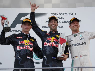 The podium at this year's Malaysian GP. AP
