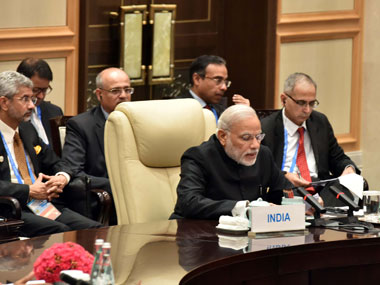 Prime Minister Narendra Modi attending the Brics leaders' meeting, on the sidelines of G20 Summit 2016, in Hangzhou, China on 4 September, 2016. Image courtesy PIB