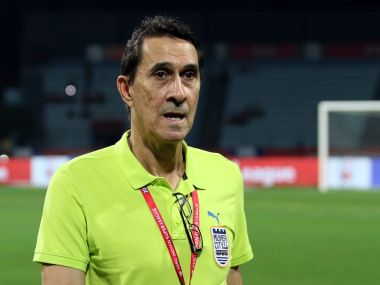 Mumbai City FC head coach Alexandre Guimares during match with Atletico de Kolkata. ISL
