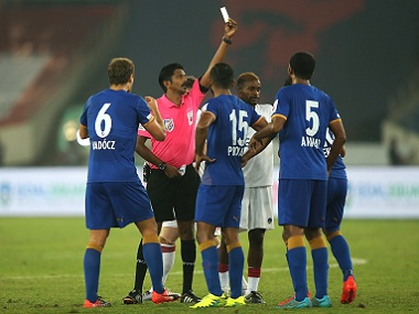 Mumbai City FC's Sehnaj Singh got a red card against Delhi Dynamos. ISL