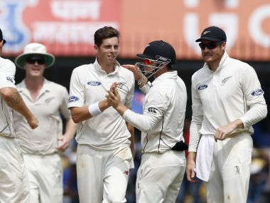 New Zealand celebrate wicket of Cheteshwar Pujara on Day 1 of Indore Test. AP