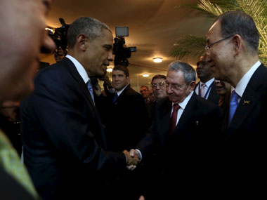 US President Barack Obama and Cuba President Raul Castro. Reuters