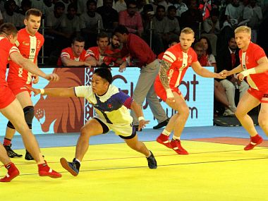 Japanese player raid against Poland during Kabaddi World Cup 2016 match in Ahmedabad. PTI