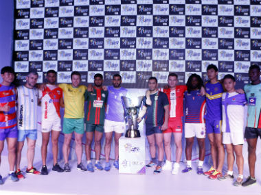 Captains of the 12 participating teams with the trophy. Image courtesy: Kabaddi World Cup organisers.