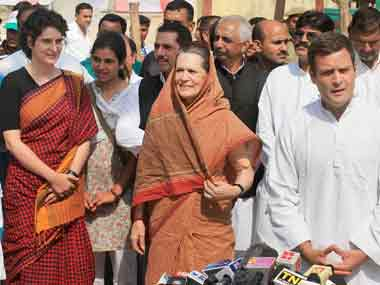 File photo of Priyanka, Sonia and Rahul Gandhi. PTI