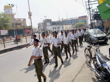 A file image of RSS cadres during a Dussehra rally. PTI