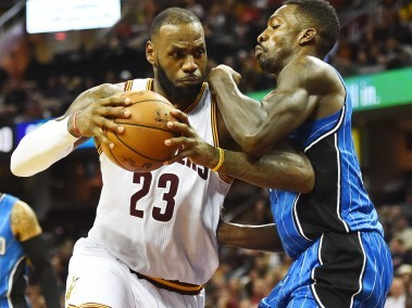 Cleveland Cavaliers forward LeBron James controls the ball against Orlando Magic. Reuters
