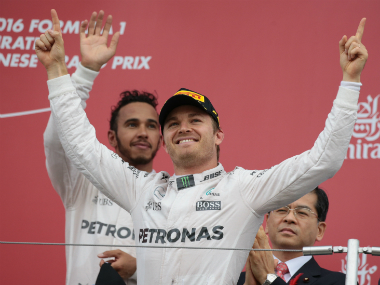 Nico Rosberg (Front) finished in pole position, as Lewis Hamilton came third during the USGP practice. AFP