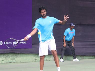 Saketh Myneni in action at the Pune Challenger. Image courtesy: Twitter/@KPIT_ATP