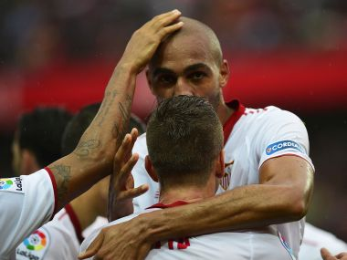 Sevilla's French midfielder Steven N'Zonzi  celebrates. AFP