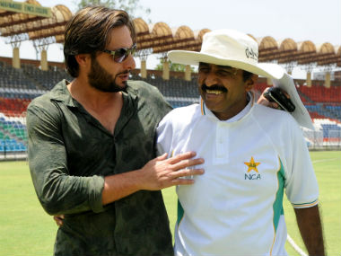 Shahid Afridi and Javed Miandad recently buried their highly-publicised spat with a hug. AFP