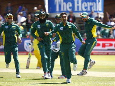 Tabraiz Shamsi (centre) had a good outing against Australia in the third ODI. AFP