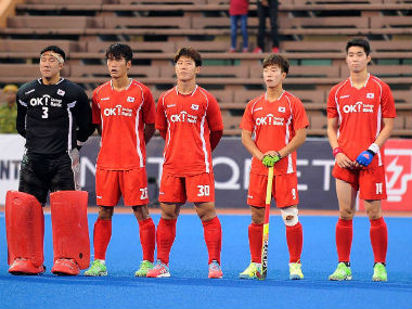 South Korean players stand for the national anthem ahead of their match against China. Image courtesy: Malaysian Hockey Confederation official Facebook page.