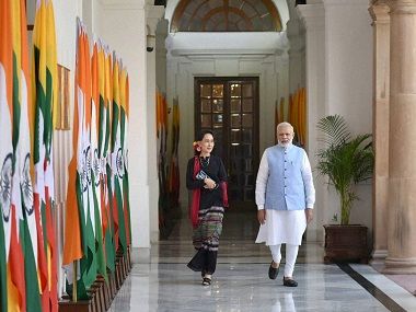 New Delhi: Prime Minister Narendra Modi with Myanmar State Counsellor Aung San Suu Kyi at Hyderabad House, in New Delhi on Wednesday.PTI Photo(PTI10_19_2016_000248B)