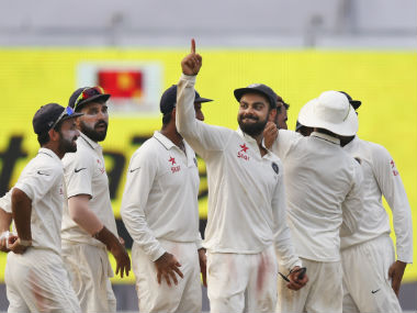 India skipper Virat Kohli gestures after India's 178-run win over New Zealand in the second Test in Kolkata on Monday. AP
