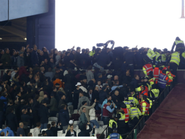The West Ham fans directed homophobic chants towards Chelsea players and clashed with their fans. AFP