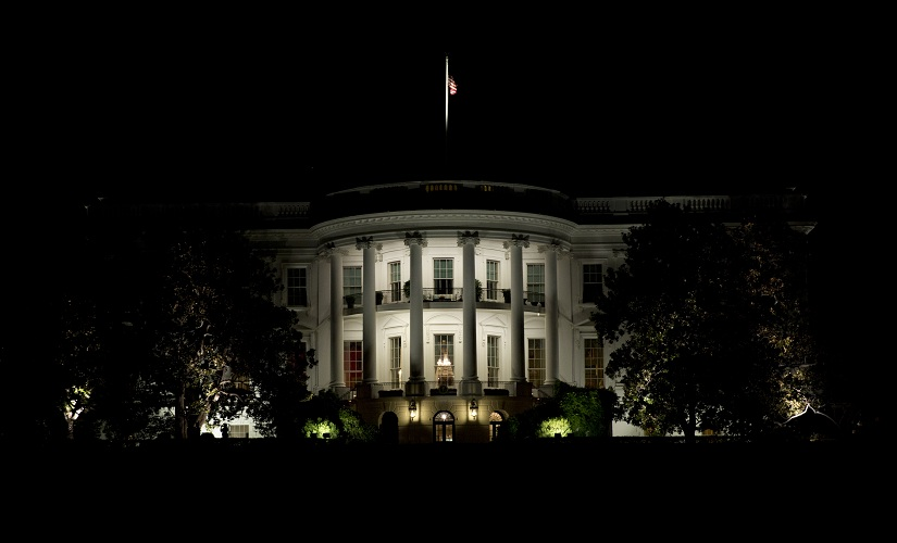 The White House is illuminated during a State dinner in honor of Italian Prime Minister Matteo Renzi and his wife Agnese Landini hosed by President Barack Obama and first lady Michelle Obama in Washington, Tuesday, Oct. 18, 2016. At right is the Washington Monument. (AP Photo/Carolyn Kaster)