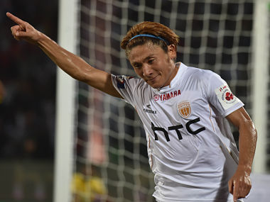 Katsumi Yusa celebrates after scoring his goal against Kerala Blasters FC. AFP