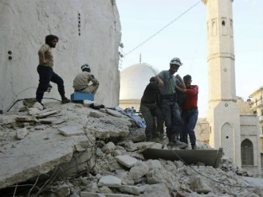 Rubbles of a building destroyed by airstrikes. AP