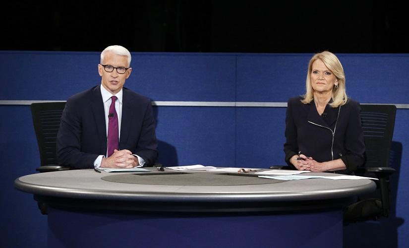 Anderson Cooper, of CNN, and Martha Raddatz, of ABC News, moderate the second presidential debate. AP