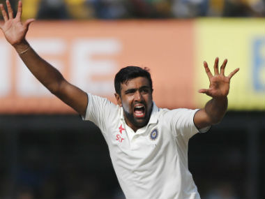 Ashwin celebrates James Neesham's wicket during the third Test against New Zealand at Indore. AP