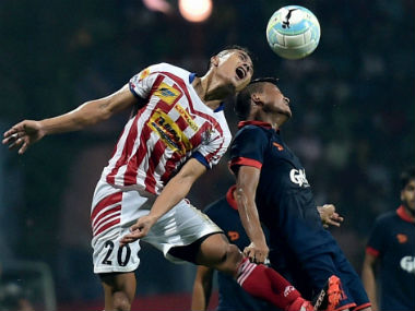 Action in the match between ATK and Delhi Dynamos on Saturday. PTI