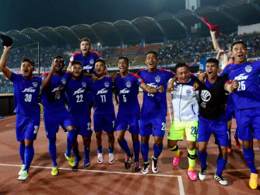 A jubilant Bengaluru FC team after advancing to the final of the AFC Cup. PTI