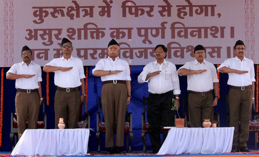 Nagpur: RSS chief Mohan Bhagwat, in new uniform, with other volunteers on the occasion of their foundation day and Vijaya Dashami in Nagpur on Tuesday. PTI Photo (PTI10_11_2016_000100B)