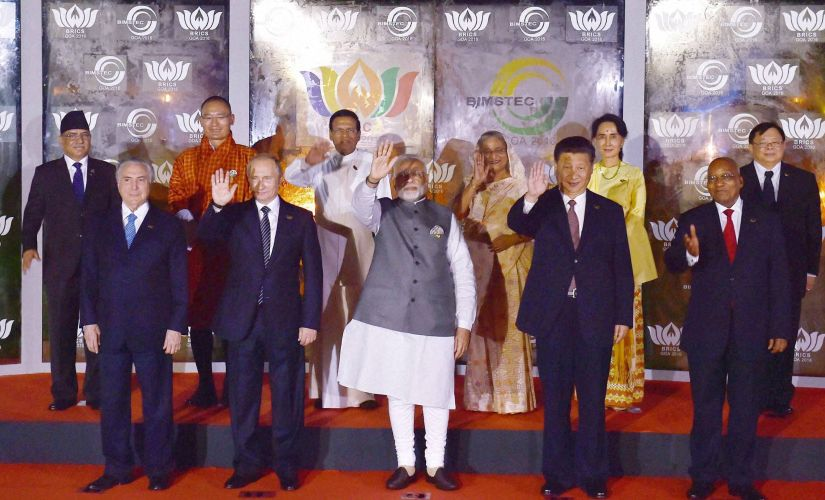 Prime Minister Narendra Modi along with Brics and Bimstec leaders in Goa on Sunday. PTI
