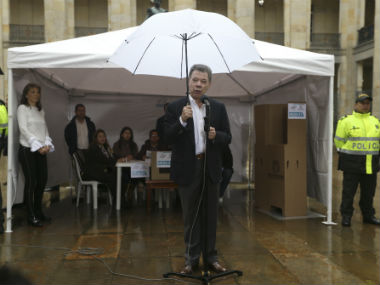 Colombian President after voting in the referendum. AP