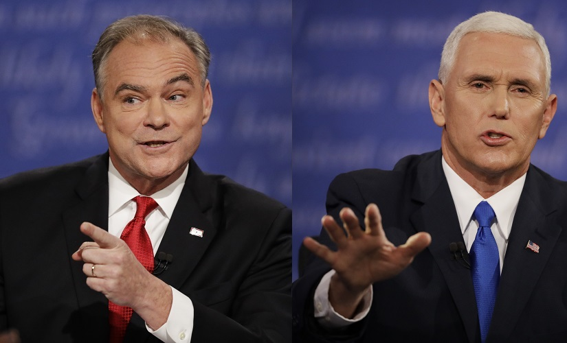 Tim Kaine (left) and Mike Pence (right) made for a study in contrast in the VP debate. AP