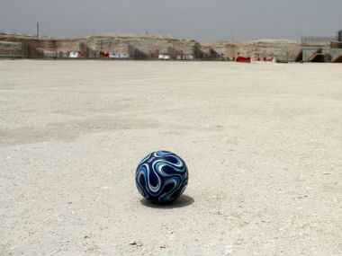 Football seen at the construction site of Al Wakrah stadium, in Qatar. Reuters